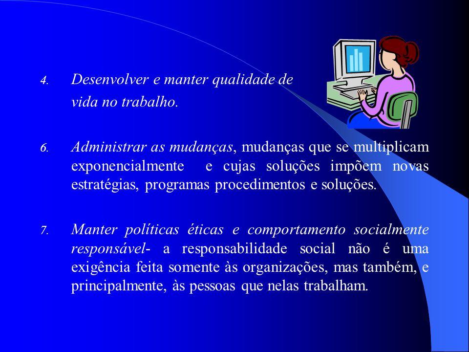 4. Desenvolver e manter qualidade de vida no trabalho. 6. Administrar as mudanças, mudanças que se multiplicam exponencialmente e cujas soluções impõe