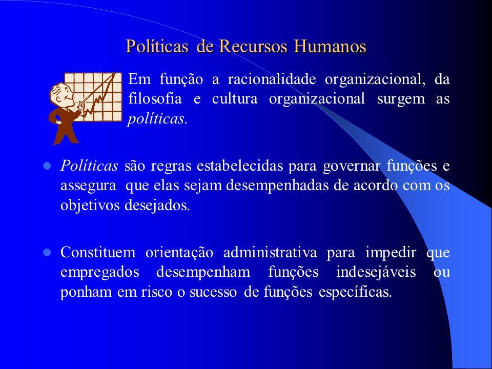 Políticas de Recursos Humanos Em função a racionalidade organizacional, da filosofia e cultura organizacional surgem as políticas. Políticas são regra