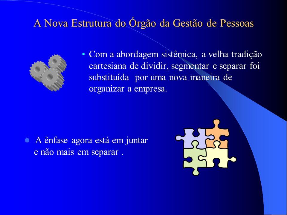 A Nova Estrutura do Órgão da Gestão de Pessoas Com a abordagem sistêmica, a velha tradição cartesiana de dividir, segmentar e separar foi substituída