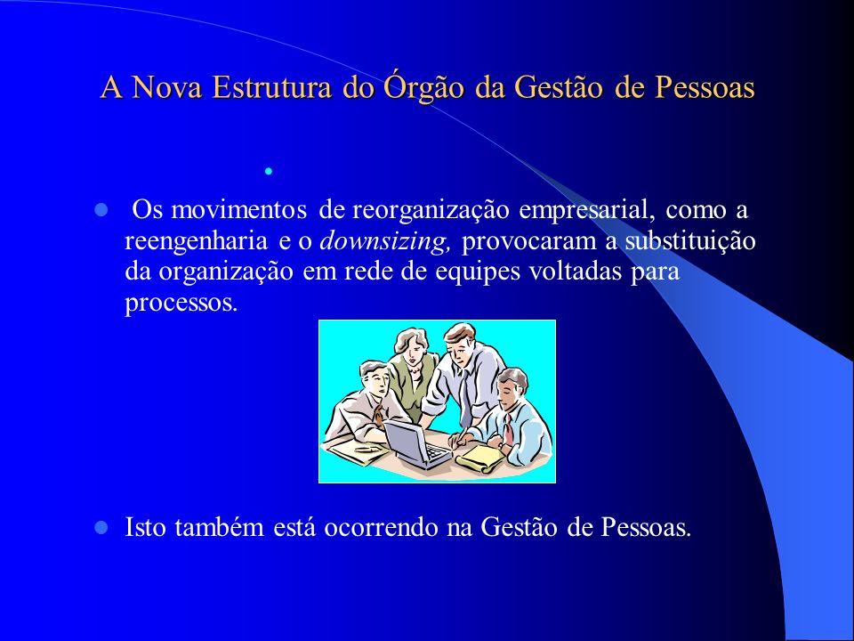 A Nova Estrutura do Órgão da Gestão de Pessoas Os movimentos de reorganização empresarial, como a reengenharia e o downsizing, provocaram a substituiç