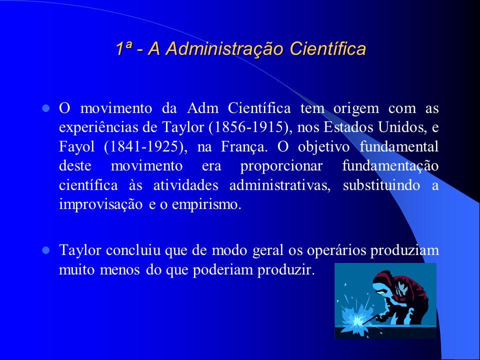 1ª - A Administração Científica O movimento da Adm Científica tem origem com as experiências de Taylor (1856-1915), nos Estados Unidos, e Fayol (1841-