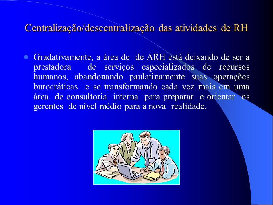 Centralização/descentralização das atividades de RH Gradativamente, a área de de ARH está deixando de ser a prestadora de serviços especializados de r