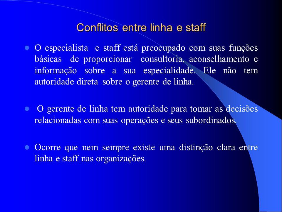 Conflitos entre linha e staff O especialista e staff está preocupado com suas funções básicas de proporcionar consultoria, aconselhamento e informação