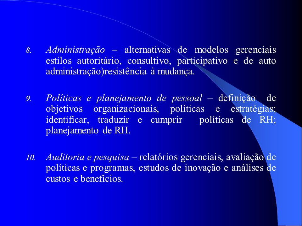 8. Administração – alternativas de modelos gerenciais estilos autoritário, consultivo, participativo e de auto administração)resistência à mudança. 9.