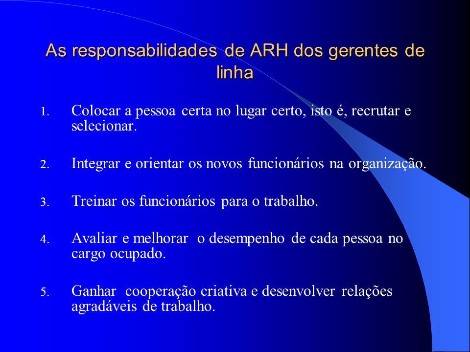 As responsabilidades de ARH dos gerentes de linha 1. Colocar a pessoa certa no lugar certo, isto é, recrutar e selecionar. 2. Integrar e orientar os n