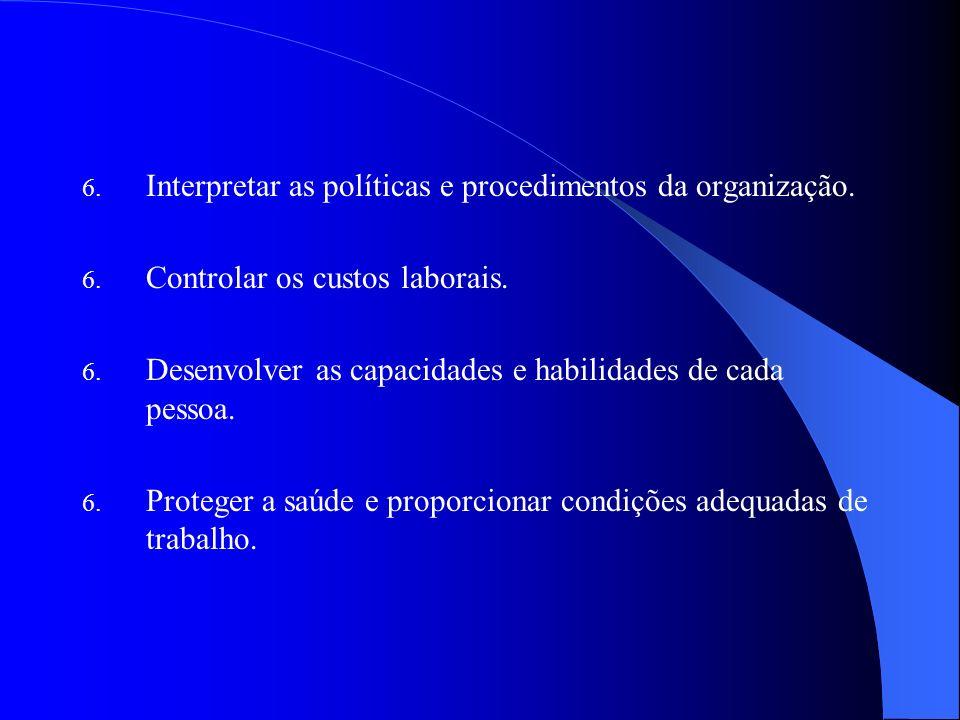 6. Interpretar as políticas e procedimentos da organização. 6. Controlar os custos laborais. 6. Desenvolver as capacidades e habilidades de cada pesso