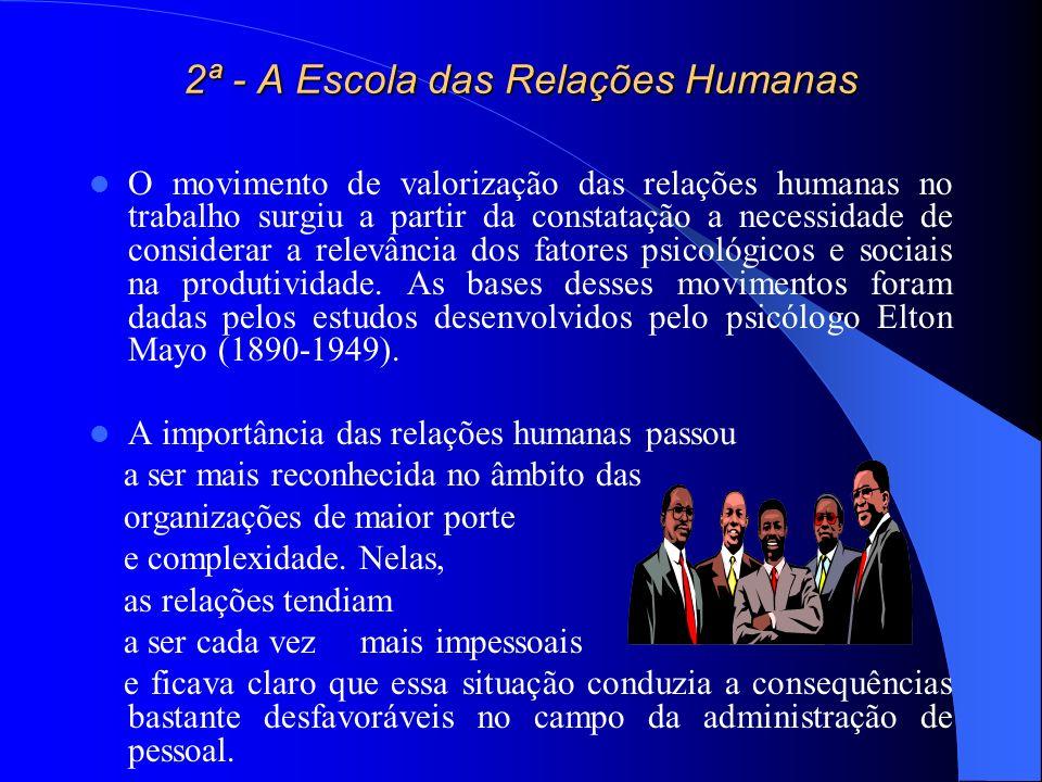 2ª - A Escola das Relações Humanas O movimento de valorização das relações humanas no trabalho surgiu a partir da constatação a necessidade de conside