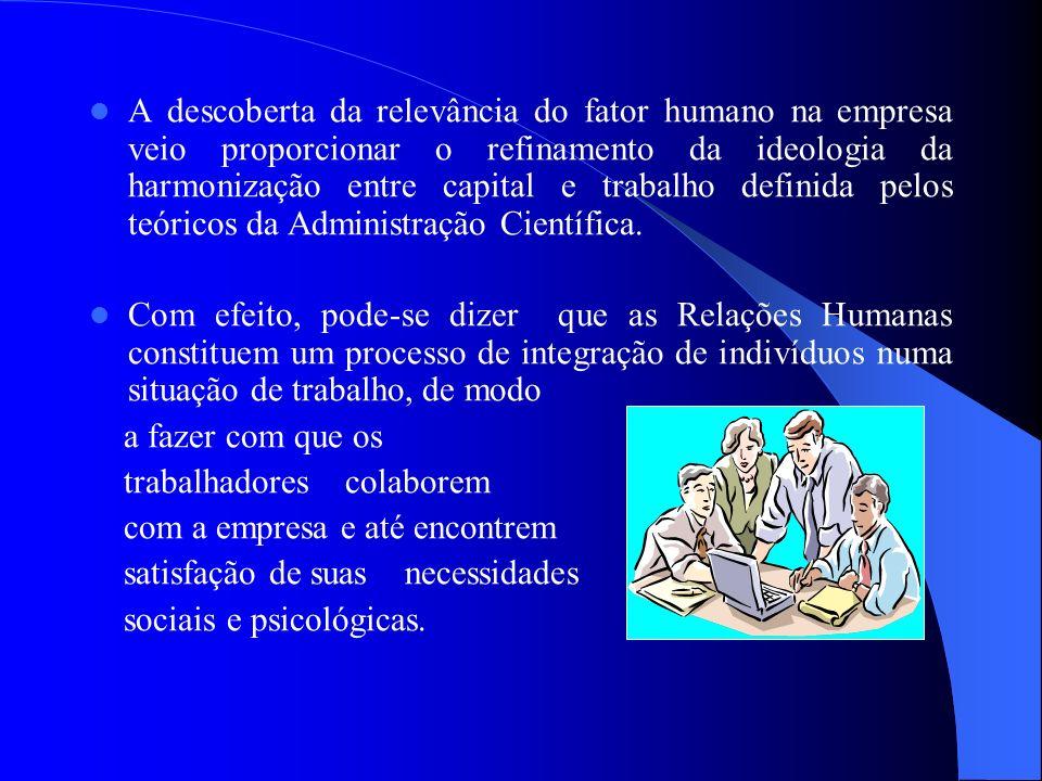A descoberta da relevância do fator humano na empresa veio proporcionar o refinamento da ideologia da harmonização entre capital e trabalho definida p