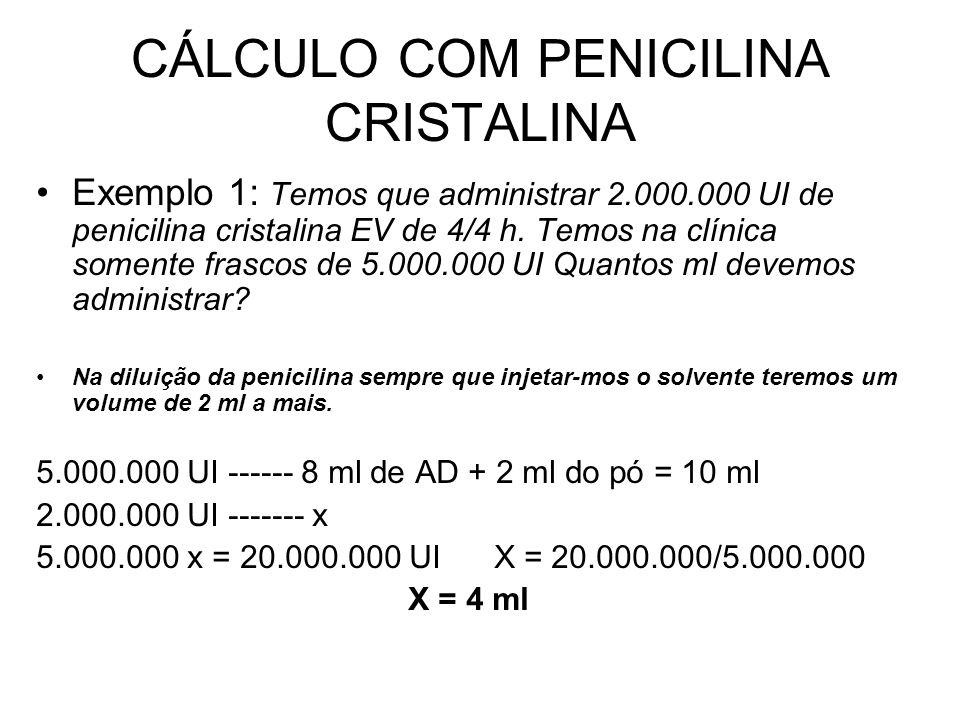 CÁLCULO COM PENICILINA CRISTALINA Exemplo 1: Temos que administrar 2.000.000 UI de penicilina cristalina EV de 4/4 h. Temos na clínica somente frascos