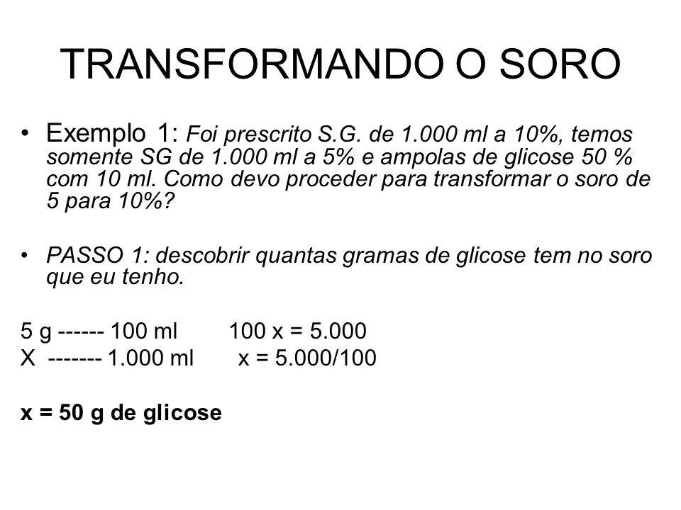 TRANSFORMANDO O SORO Exemplo 1: Foi prescrito S.G. de 1.000 ml a 10%, temos somente SG de 1.000 ml a 5% e ampolas de glicose 50 % com 10 ml. Como devo