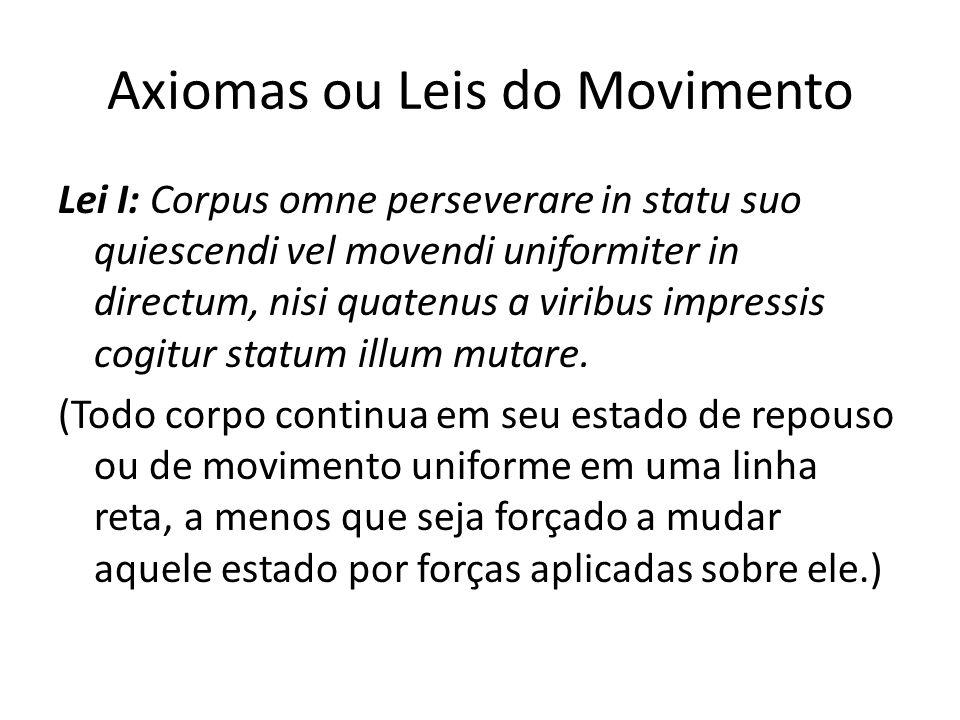 Axiomas ou Leis do Movimento Lei I: Corpus omne perseverare in statu suo quiescendi vel movendi uniformiter in directum, nisi quatenus a viribus impre
