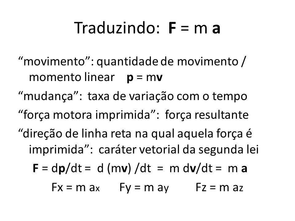 Traduzindo: F = m a movimento: quantidade de movimento / momento linear p = mv mudança: taxa de variação com o tempo força motora imprimida: força res