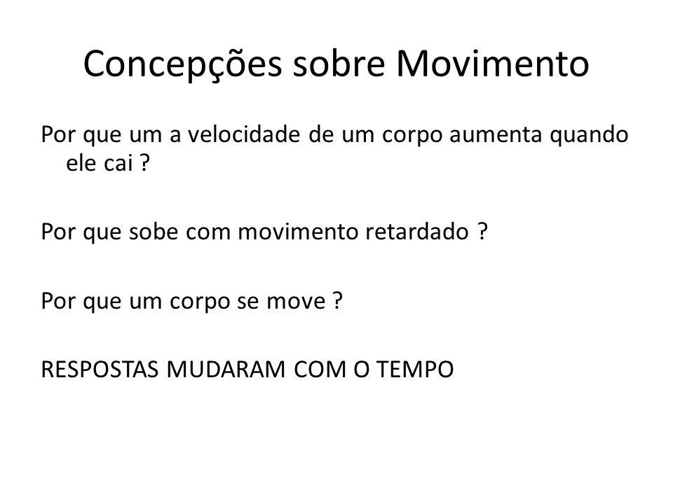 Concepções sobre Movimento Por que um a velocidade de um corpo aumenta quando ele cai ? Por que sobe com movimento retardado ? Por que um corpo se mov