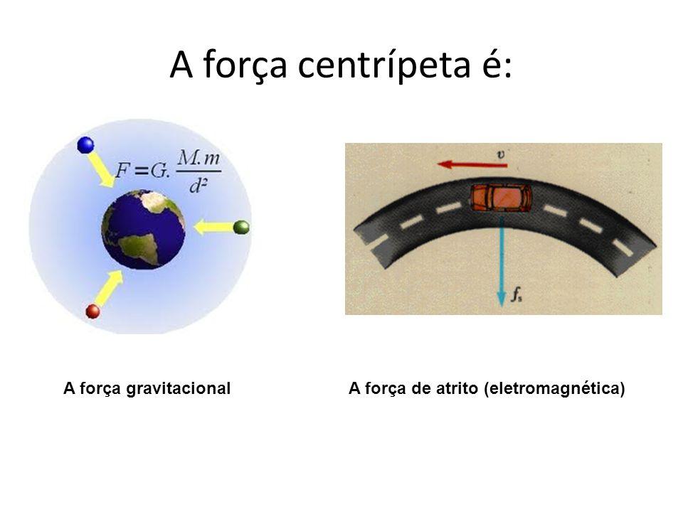 A força centrípeta é: A força gravitacionalA força de atrito (eletromagnética)