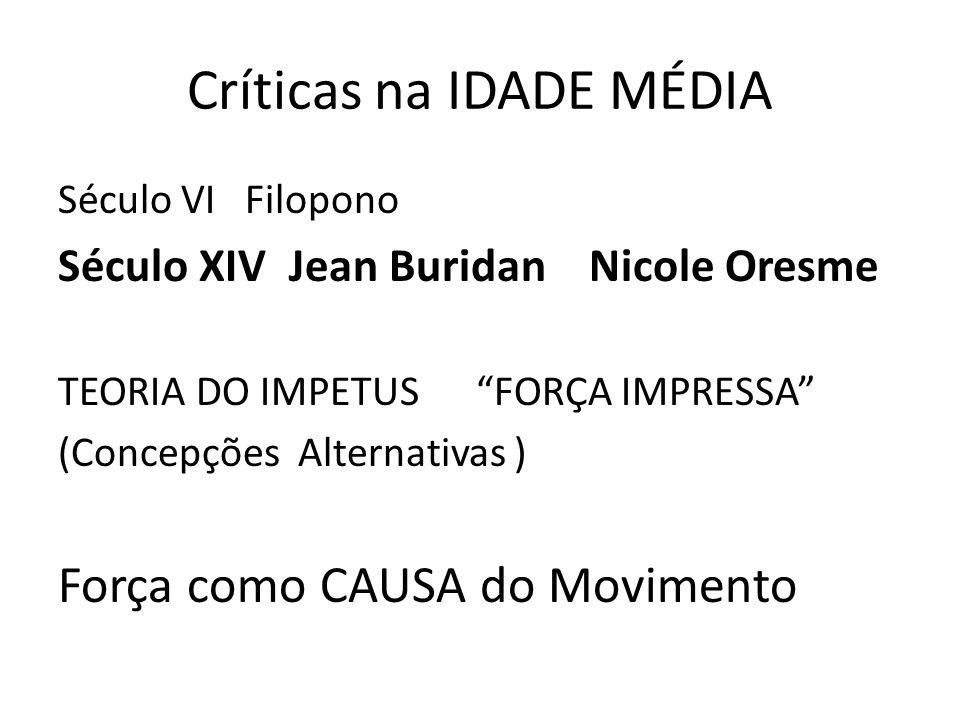 Críticas na IDADE MÉDIA Século VI Filopono Século XIV Jean Buridan Nicole Oresme TEORIA DO IMPETUS FORÇA IMPRESSA (Concepções Alternativas ) Força com