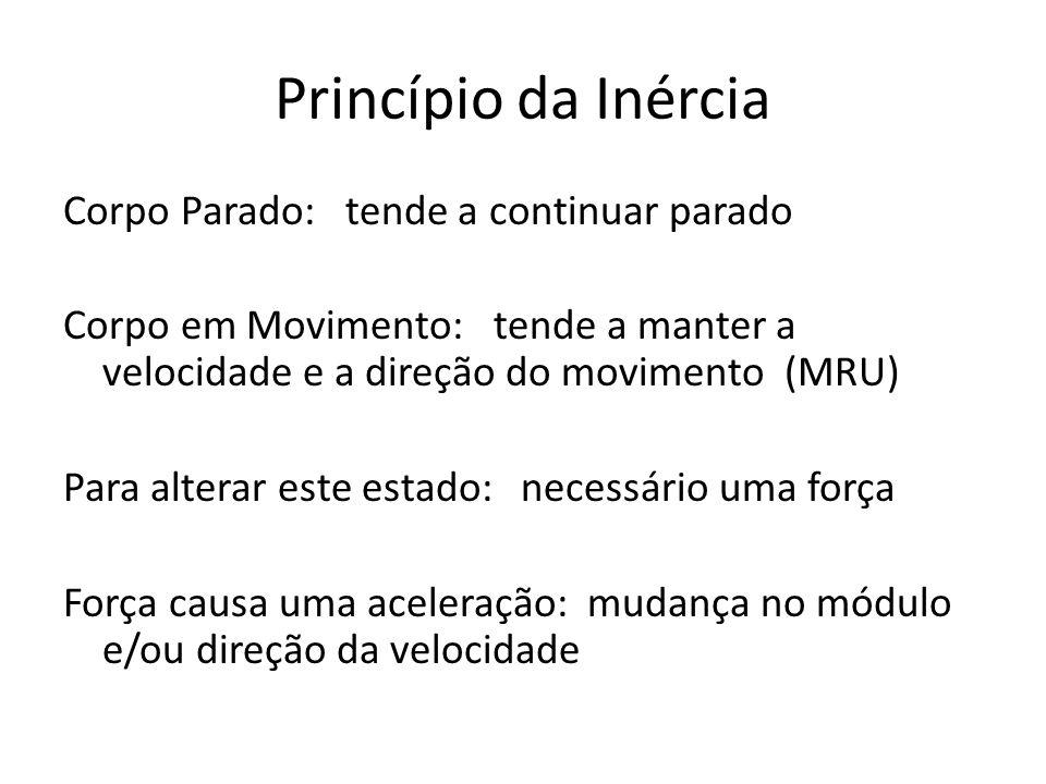 Princípio da Inércia Corpo Parado: tende a continuar parado Corpo em Movimento: tende a manter a velocidade e a direção do movimento (MRU) Para altera