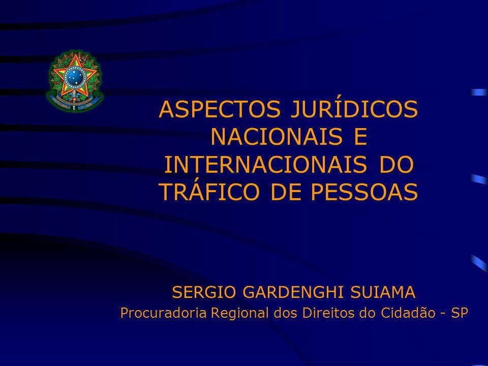 ASPECTOS JURÍDICOS NACIONAIS E INTERNACIONAIS DO TRÁFICO DE PESSOAS SERGIO GARDENGHI SUIAMA Procuradoria Regional dos Direitos do Cidadão - SP