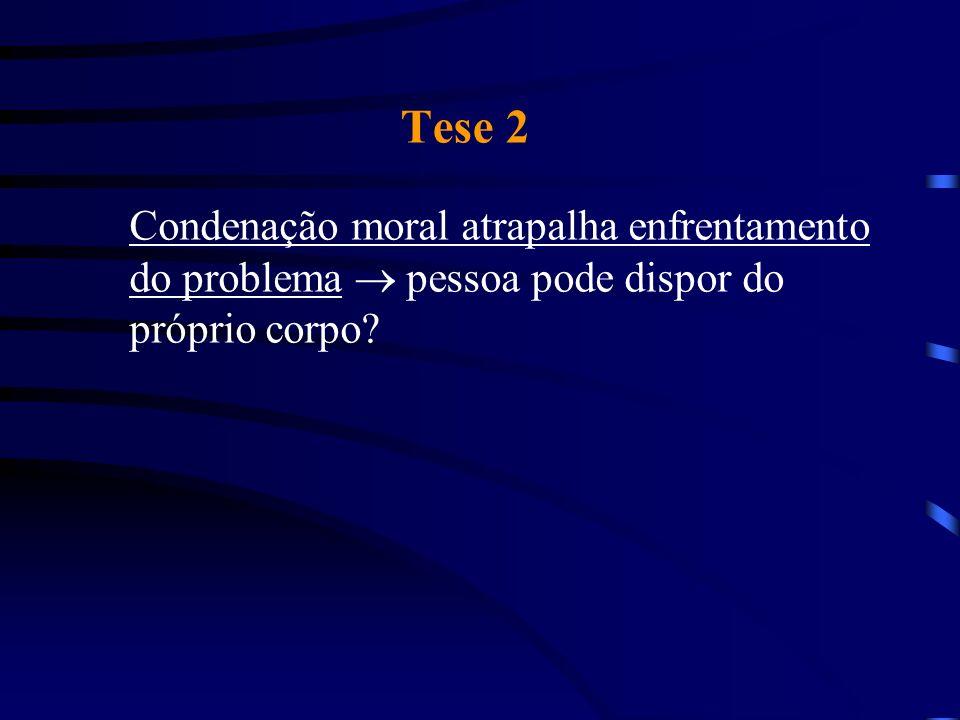 Tese 2 Condenação moral atrapalha enfrentamento do problema pessoa pode dispor do próprio corpo?