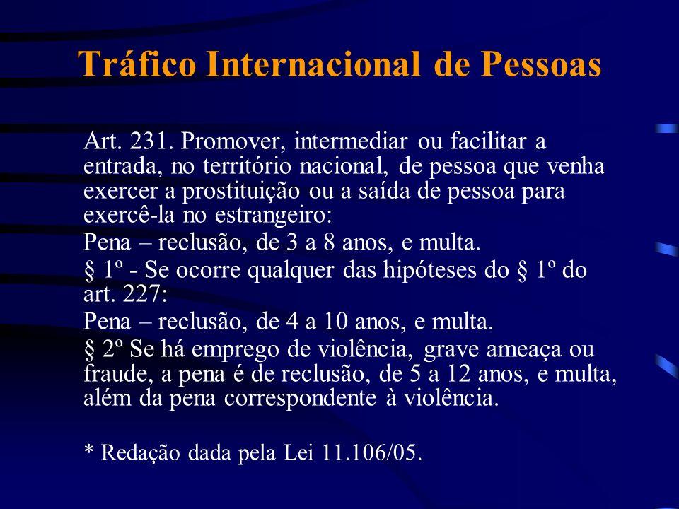 Tráfico Internacional de Pessoas Art. 231. Promover, intermediar ou facilitar a entrada, no território nacional, de pessoa que venha exercer a prostit