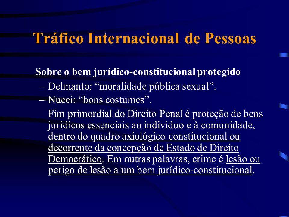 Tráfico Internacional de Pessoas Sobre o bem jurídico-constitucional protegido –Delmanto: moralidade pública sexual. –Nucci: bons costumes. Fim primor