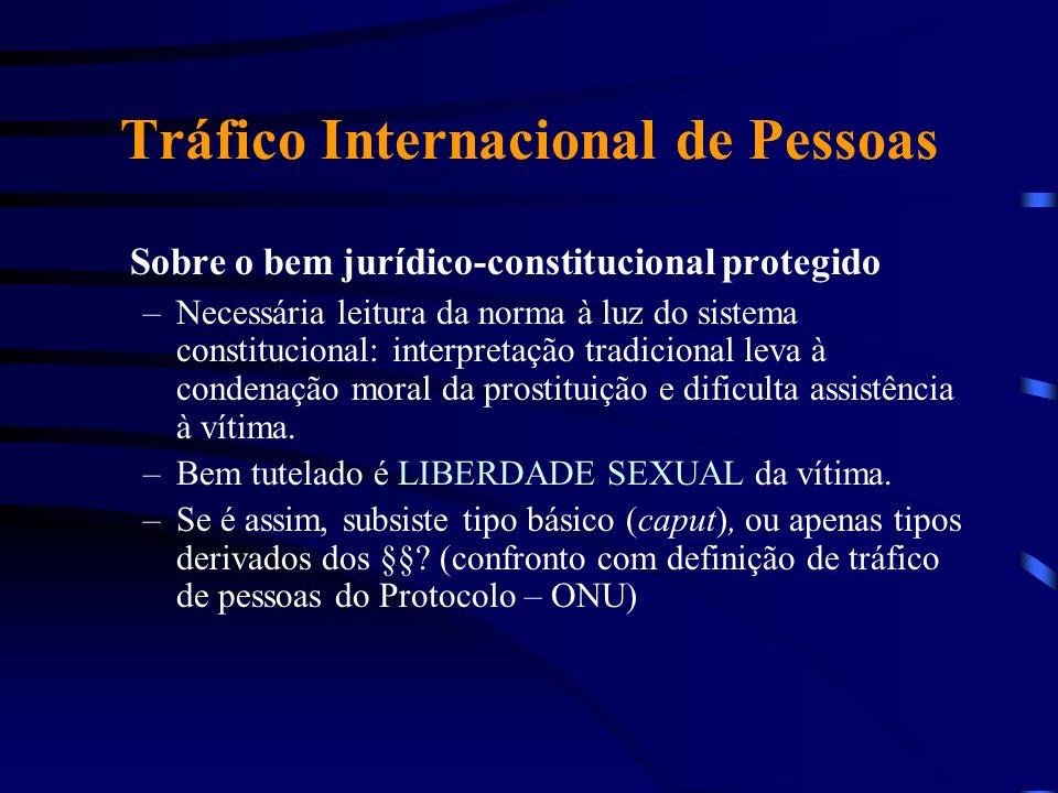 Tráfico Internacional de Pessoas Sobre o bem jurídico-constitucional protegido –Necessária leitura da norma à luz do sistema constitucional: interpret