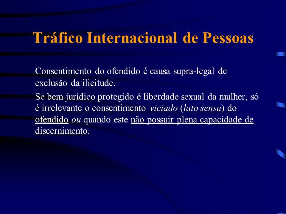 Tráfico Internacional de Pessoas Consentimento do ofendido é causa supra-legal de exclusão da ilicitude. Se bem jurídico protegido é liberdade sexual