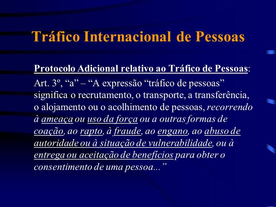 Tráfico Internacional de Pessoas Protocolo Adicional relativo ao Tráfico de Pessoas: Art. 3º, a – A expressão tráfico de pessoas significa o recrutame
