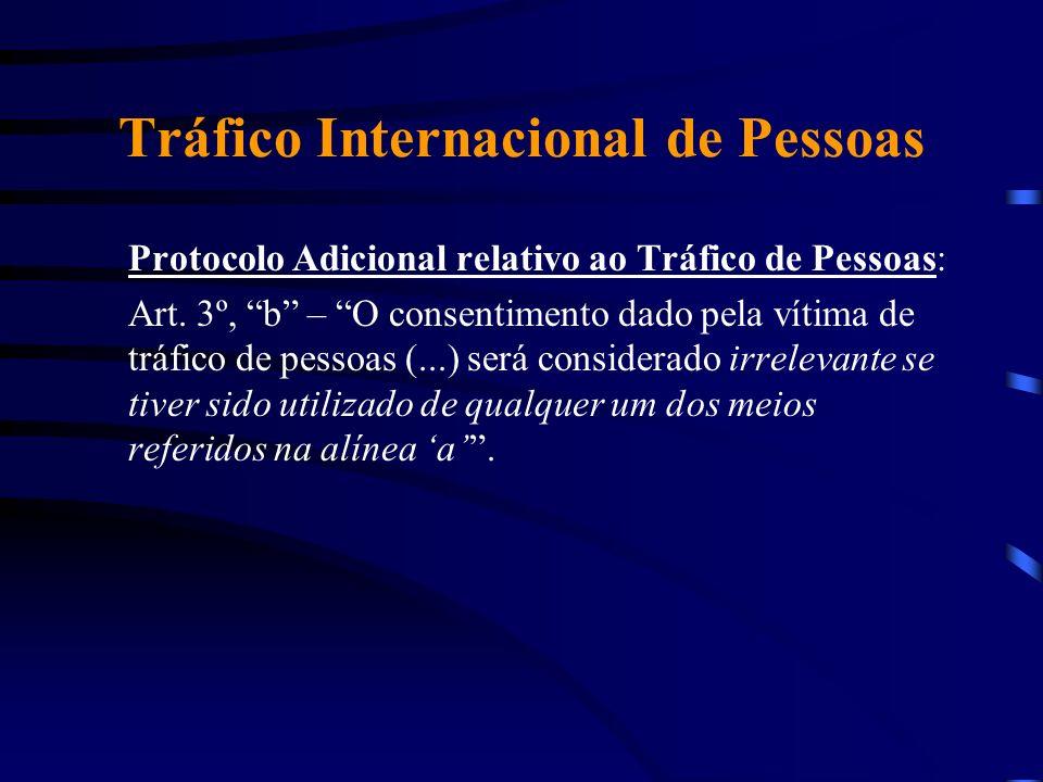 Tráfico Internacional de Pessoas Protocolo Adicional relativo ao Tráfico de Pessoas: Art. 3º, b – O consentimento dado pela vítima de tráfico de pesso