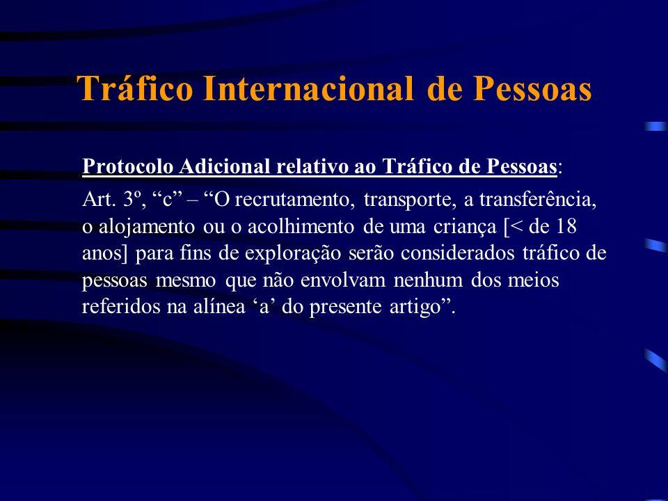 Tráfico Internacional de Pessoas Protocolo Adicional relativo ao Tráfico de Pessoas: Art. 3º, c – O recrutamento, transporte, a transferência, o aloja