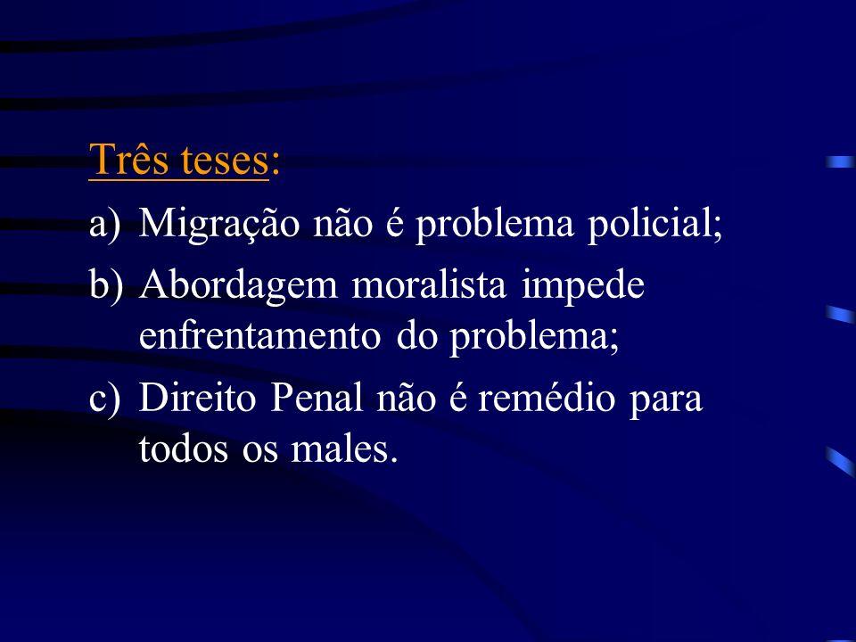Três teses: a)Migração não é problema policial; b)Abordagem moralista impede enfrentamento do problema; c)Direito Penal não é remédio para todos os ma