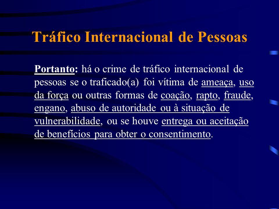 Tráfico Internacional de Pessoas Portanto: há o crime de tráfico internacional de pessoas se o traficado(a) foi vítima de ameaça, uso da força ou outr