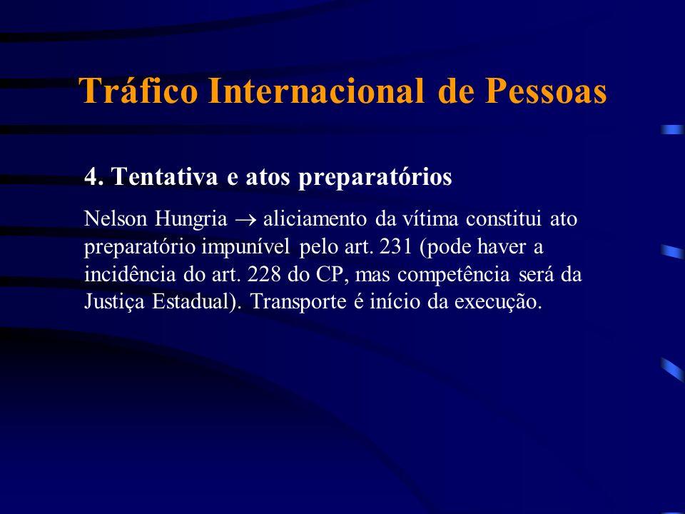 Tráfico Internacional de Pessoas 4. Tentativa e atos preparatórios Nelson Hungria aliciamento da vítima constitui ato preparatório impunível pelo art.