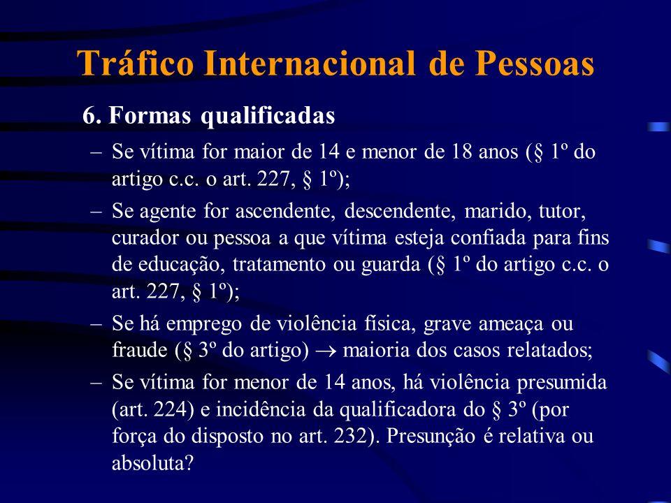 Tráfico Internacional de Pessoas 6. Formas qualificadas –Se vítima for maior de 14 e menor de 18 anos (§ 1º do artigo c.c. o art. 227, § 1º); –Se agen