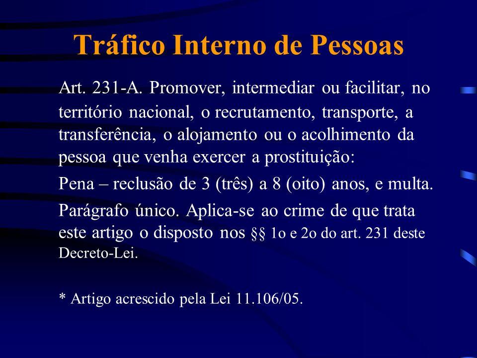 Tráfico Interno de Pessoas Art. 231-A. Promover, intermediar ou facilitar, no território nacional, o recrutamento, transporte, a transferência, o aloj