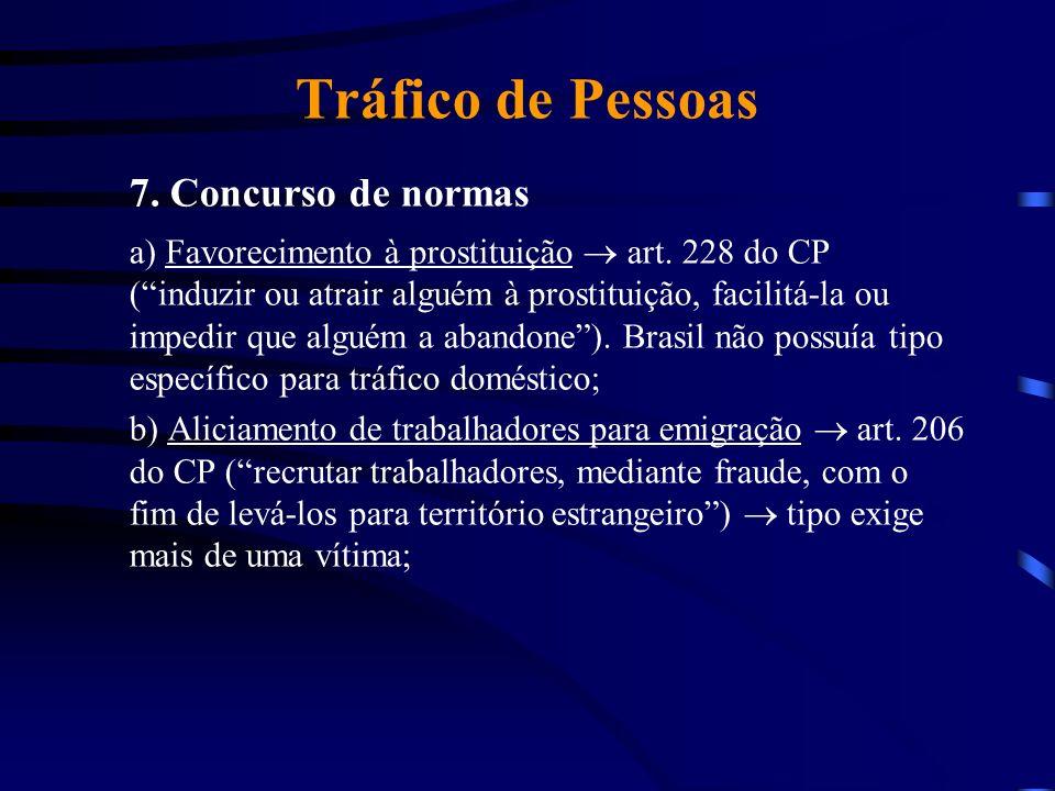 Tráfico de Pessoas 7. Concurso de normas a) Favorecimento à prostituição art. 228 do CP (induzir ou atrair alguém à prostituição, facilitá-la ou imped