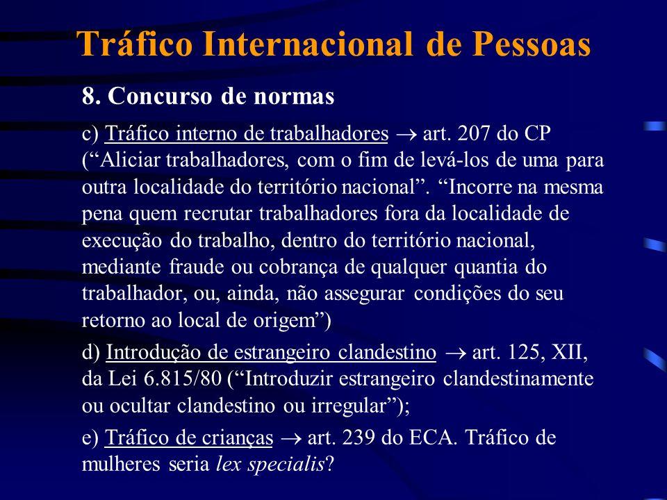 Tráfico Internacional de Pessoas 8. Concurso de normas c) Tráfico interno de trabalhadores art. 207 do CP (Aliciar trabalhadores, com o fim de levá-lo