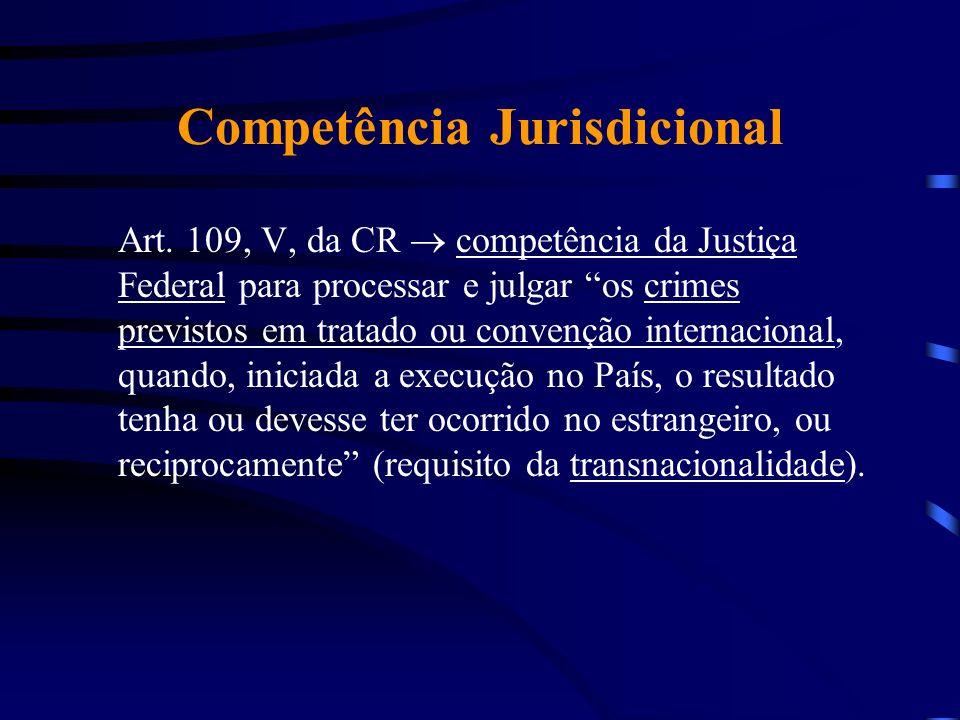 Competência Jurisdicional Art. 109, V, da CR competência da Justiça Federal para processar e julgar os crimes previstos em tratado ou convenção intern