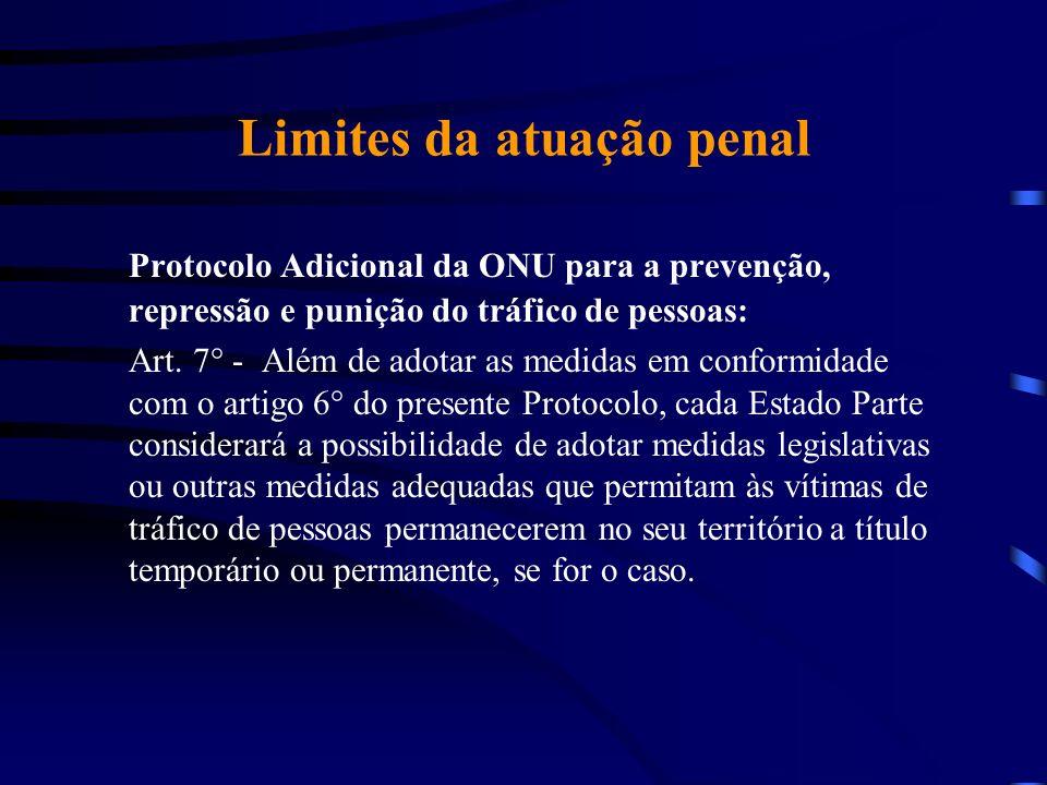 Limites da atuação penal Protocolo Adicional da ONU para a prevenção, repressão e punição do tráfico de pessoas: Art. 7° - Além de adotar as medidas e
