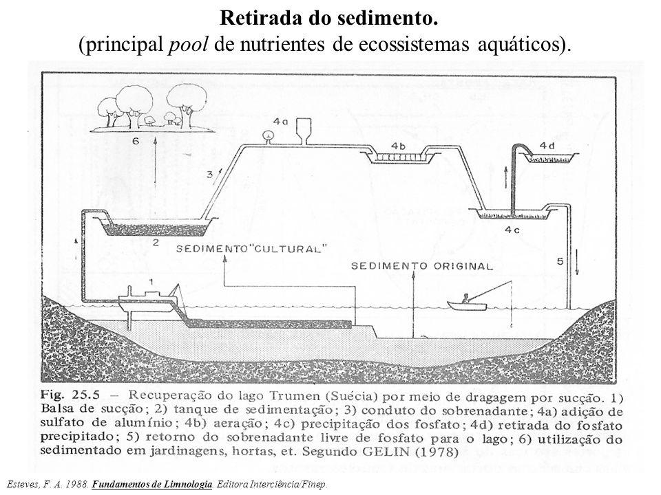 Retirada do sedimento. (principal pool de nutrientes de ecossistemas aquáticos). Esteves, F. A. 1988. Fundamentos de Limnologia. Editora Interciência/