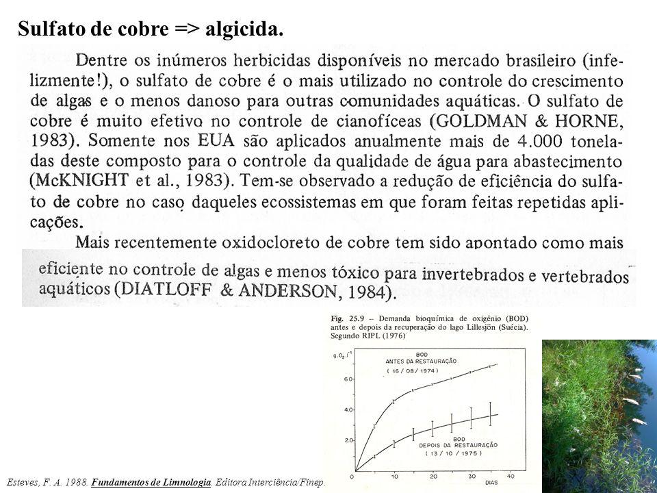 Sulfato de cobre => algicida. Esteves, F. A. 1988. Fundamentos de Limnologia. Editora Interciência/Finep.