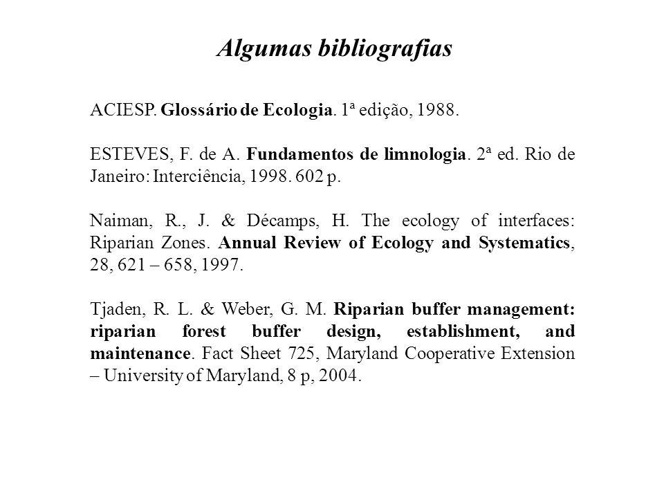 ACIESP. Glossário de Ecologia. 1ª edição, 1988. ESTEVES, F. de A. Fundamentos de limnologia. 2ª ed. Rio de Janeiro: Interciência, 1998. 602 p. Naiman,