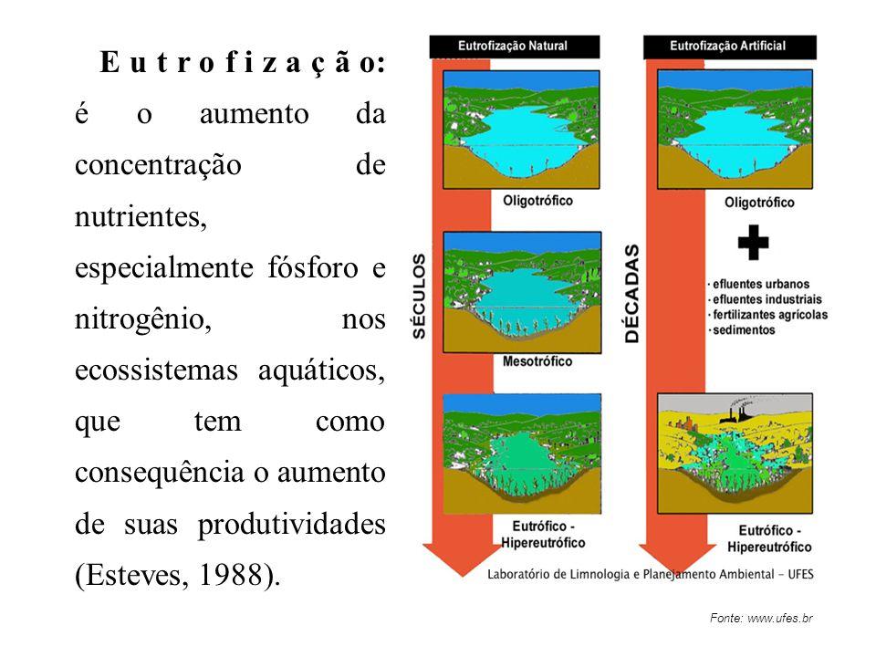 Fonte: www.ufes.br E u t r o f i z a ç ã o: é o aumento da concentração de nutrientes, especialmente fósforo e nitrogênio, nos ecossistemas aquáticos,