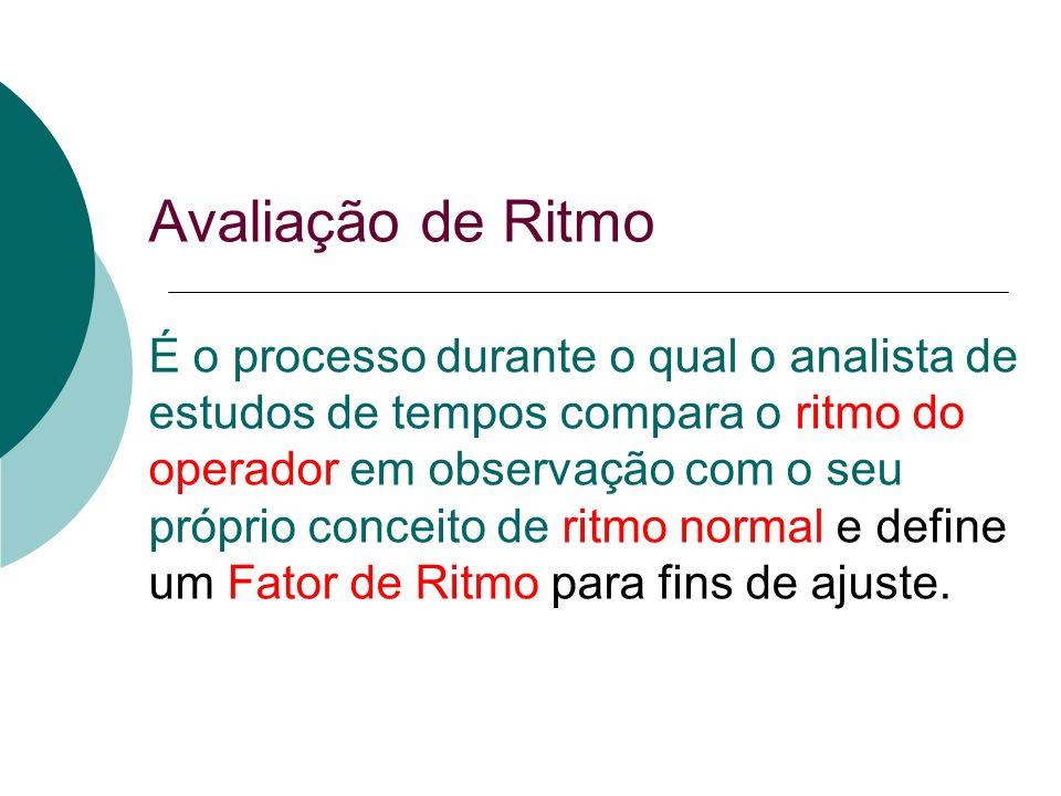 Avaliação de Ritmo É o processo durante o qual o analista de estudos de tempos compara o ritmo do operador em observação com o seu próprio conceito de