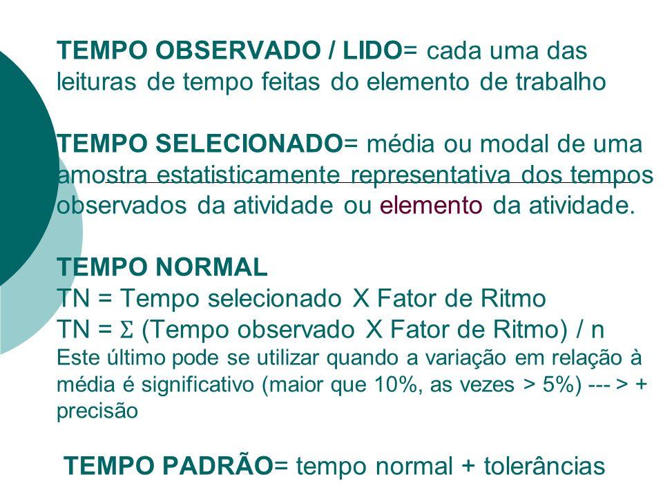 TEMPO OBSERVADO / LIDO= cada uma das leituras de tempo feitas do elemento de trabalho TEMPO SELECIONADO= média ou modal de uma amostra estatisticament