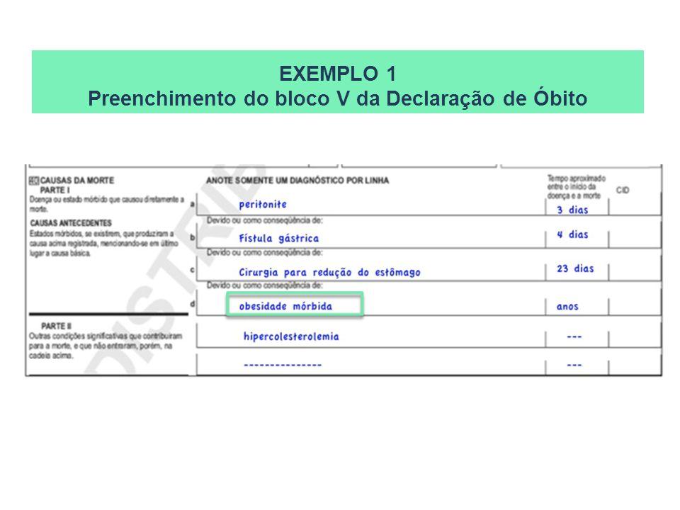 EXEMPLO 1 Preenchimento do bloco V da Declaração de Óbito