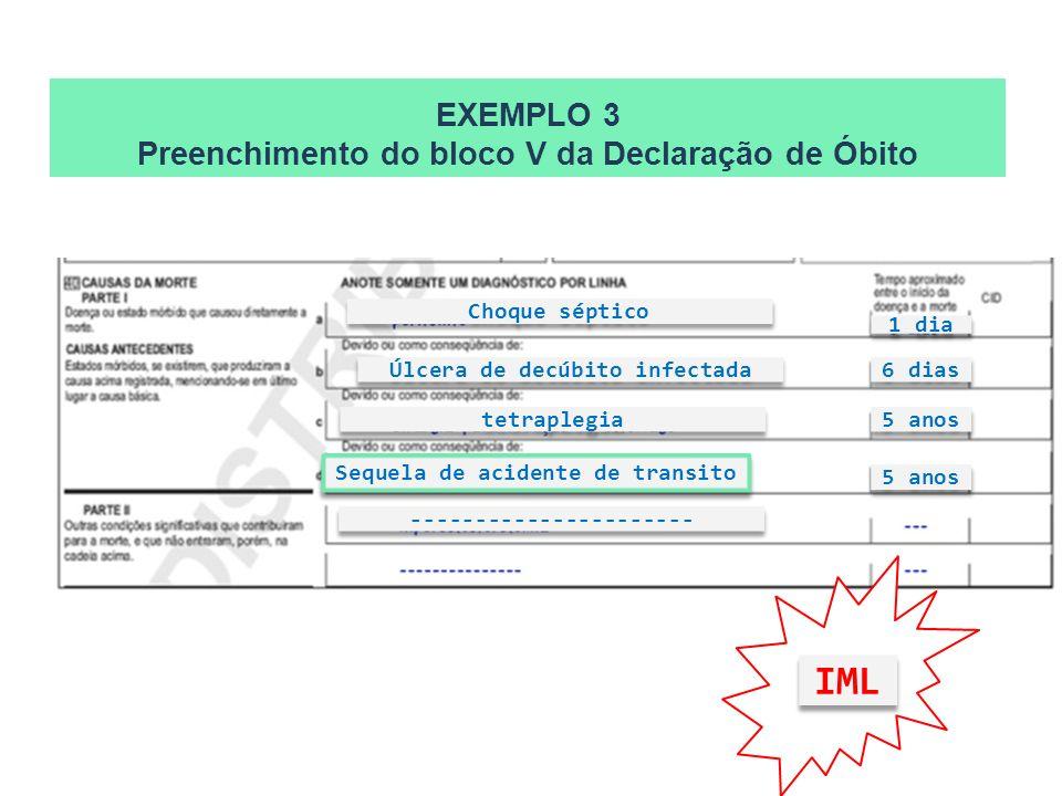 EXEMPLO 3 Preenchimento do bloco V da Declaração de Óbito Sequela de acidente de transito tetraplegia Choque séptico Úlcera de decúbito infectada 1 di