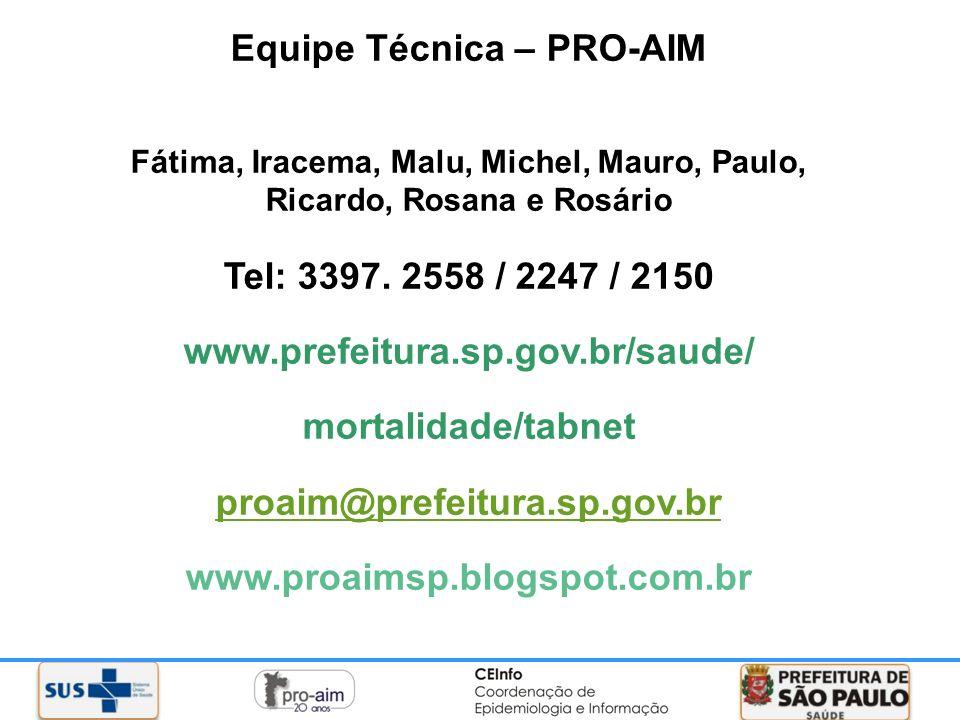 Equipe Técnica – PRO-AIM Fátima, Iracema, Malu, Michel, Mauro, Paulo, Ricardo, Rosana e Rosário Tel: 3397. 2558 / 2247 / 2150 www.prefeitura.sp.gov.br