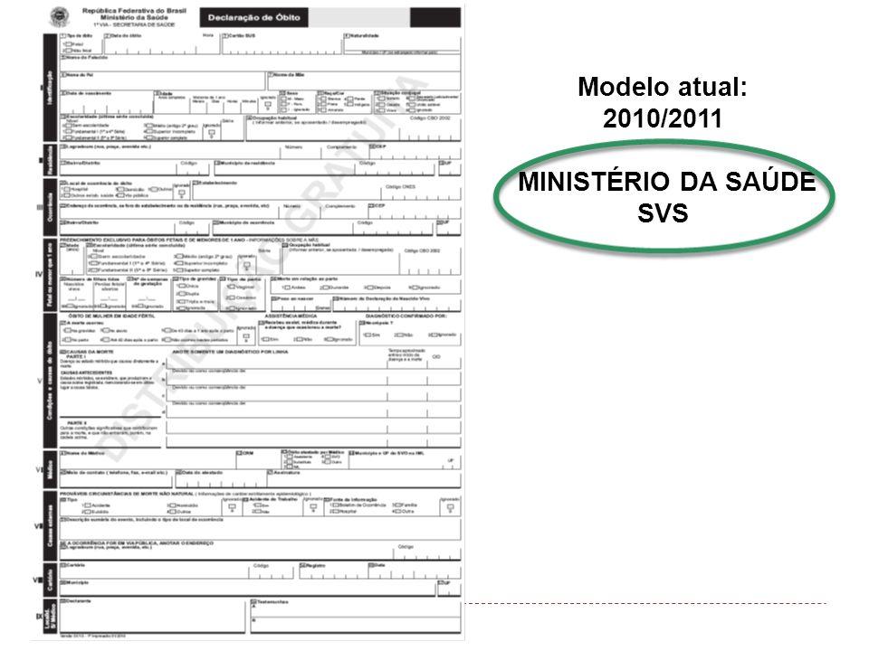 Modelo atual: 2010/2011 MINISTÉRIO DA SAÚDE SVS
