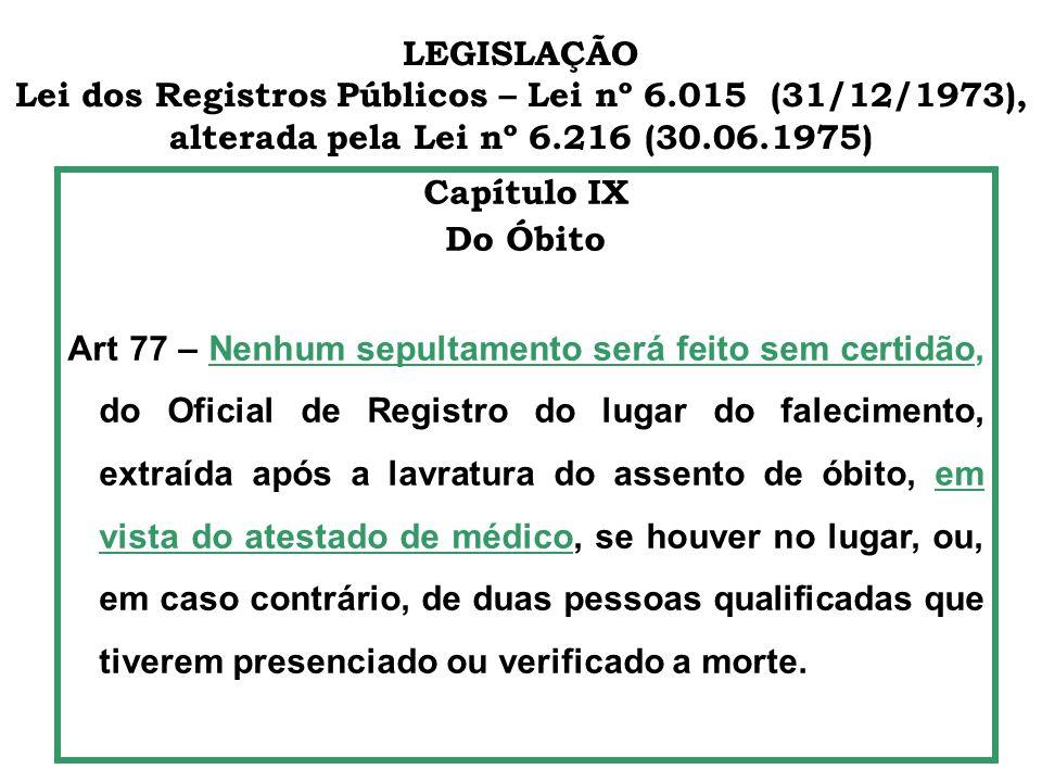 LEGISLAÇÃO Lei dos Registros Públicos – Lei nº 6.015 (31/12/1973), alterada pela Lei nº 6.216 (30.06.1975) Capítulo IX Do Óbito Art 77 – Nenhum sepult