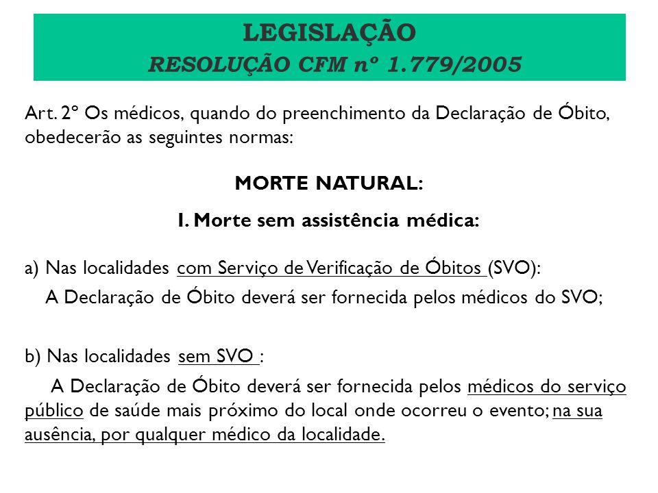 Art. 2º Os médicos, quando do preenchimento da Declaração de Óbito, obedecerão as seguintes normas: MORTE NATURAL: I. Morte sem assistência médica: a)
